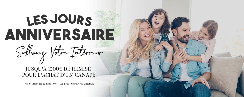 LES JOURS ANNIVERSAIRE FRANCE CANAPÉ Haussmann - Jusqu'à 1200€ de remise sur canapés de qualité